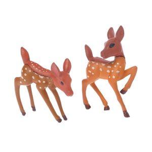 2pcs Mini Deer Resin Miniature Gardening Landscape DIY Craft Fairy Small Home Decor