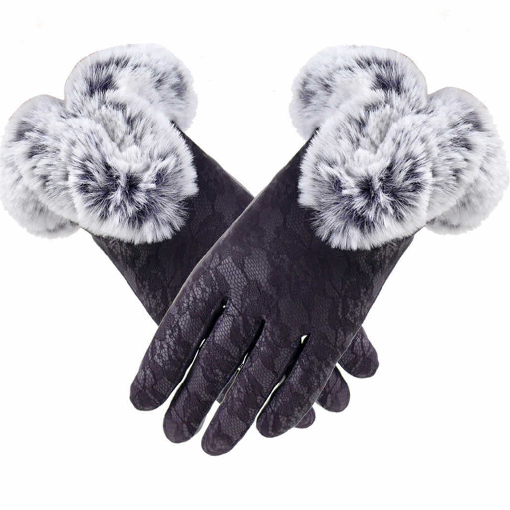 2019 New Plush Gloves Fashion Women Winter Velvet Lace Gloves Warm Leather Mittens Using Phone for Cycling Running Gloves #Y5