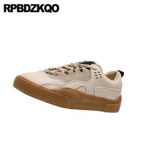 Image 4 - Zapatillas de piel elevador con cordones para mujer 2019 Casual suela gruesa zapatos Chatos con plataforma para mujer Creepers diseñador zapatos China Muffin entrenadores