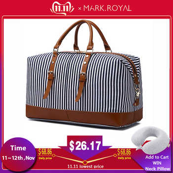 MARKROYAL New Canvas Large-Capacity Fashion Duffel Bag For Women Carry On Weekender Overnight Bag Over Sized Blue Strips - DISCOUNT ITEM  55 OFF Luggage & Bags