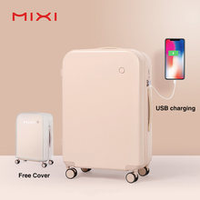 Mixi Smart Suitcase USB Charging Travel Luggage Men Women Trolley Case PC Rolling Luggage Spinner Wheels TSA Lock Free Cover(China)