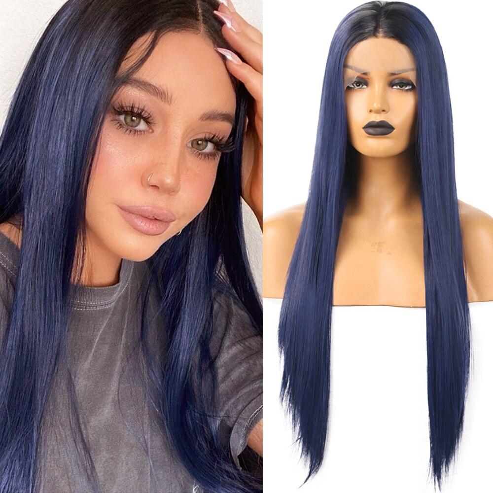 azul escuro cor perucas de cabelo de fibra de alta temperatura
