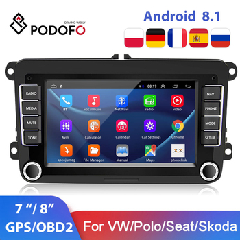 Podofo Android 8.1 Car Radio 2 din Car Multimedia player For VW/Volkswagen/Golf/Polo/Tiguan/Passat/b7/b6/SEAT/leon/Skoda/Octavia image