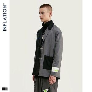 Image 2 - INFLATION DESIGN Oversized Mens Casual Blazer Loose Fit Oversized Men Blazer Spliced Blazer Black Grey Terno Masculino Blazers