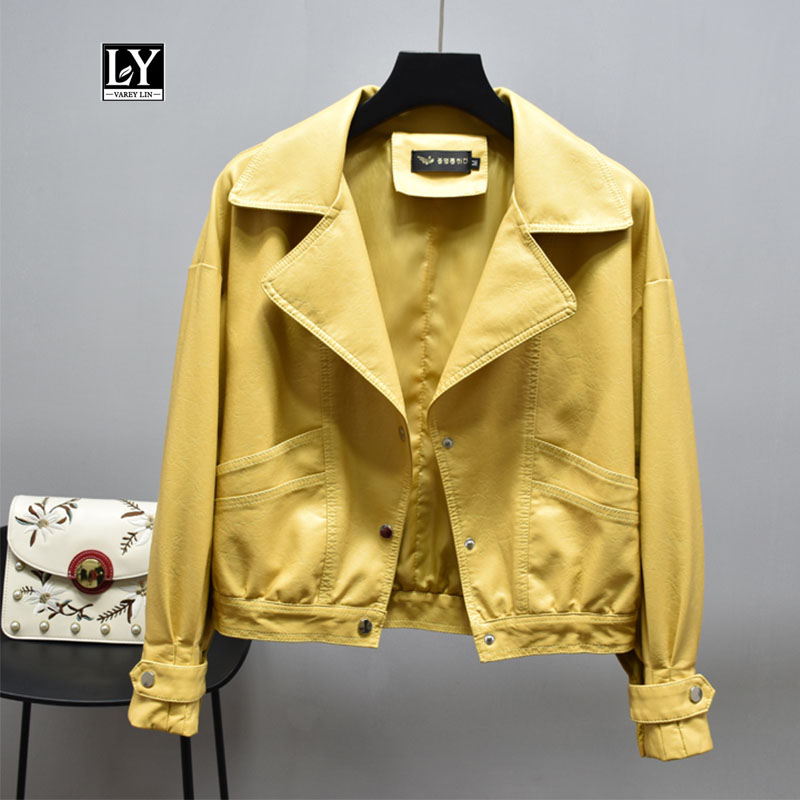 Ly Varey Lin Women Faux Pu Leather Jacket Short Biker Coat Autumn Faux Leather Motorcycle Jacket Single Breasted Yellow Outwear