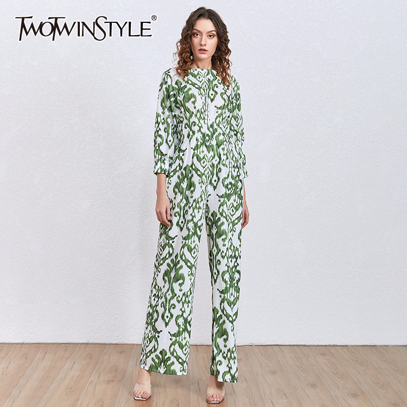 TWOTWINSTYLE Printed Casual Jumpsuit Female Long Sleeve Wide Leg Jumpsuits Women Fashion Clothes 2020 Spring Summer New