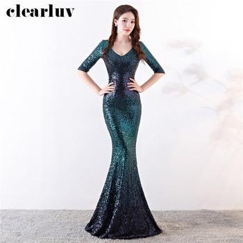 Mermaid Evening Dresses Backless Women Party Dresses DX292-4 Plus Size Robe De Soiree 2020 Sequins Constrast Color Formal Dress