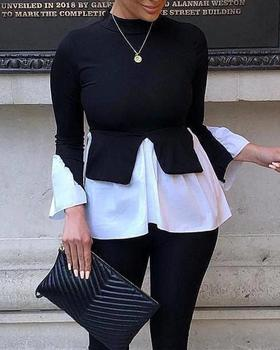 2020 Autumn Women Fashion Elegant Patchwork Design Casual Blouse Tops Female Solid Layered Contrast Long Sleeve Blouse Top pearl detail layered frill sleeve top