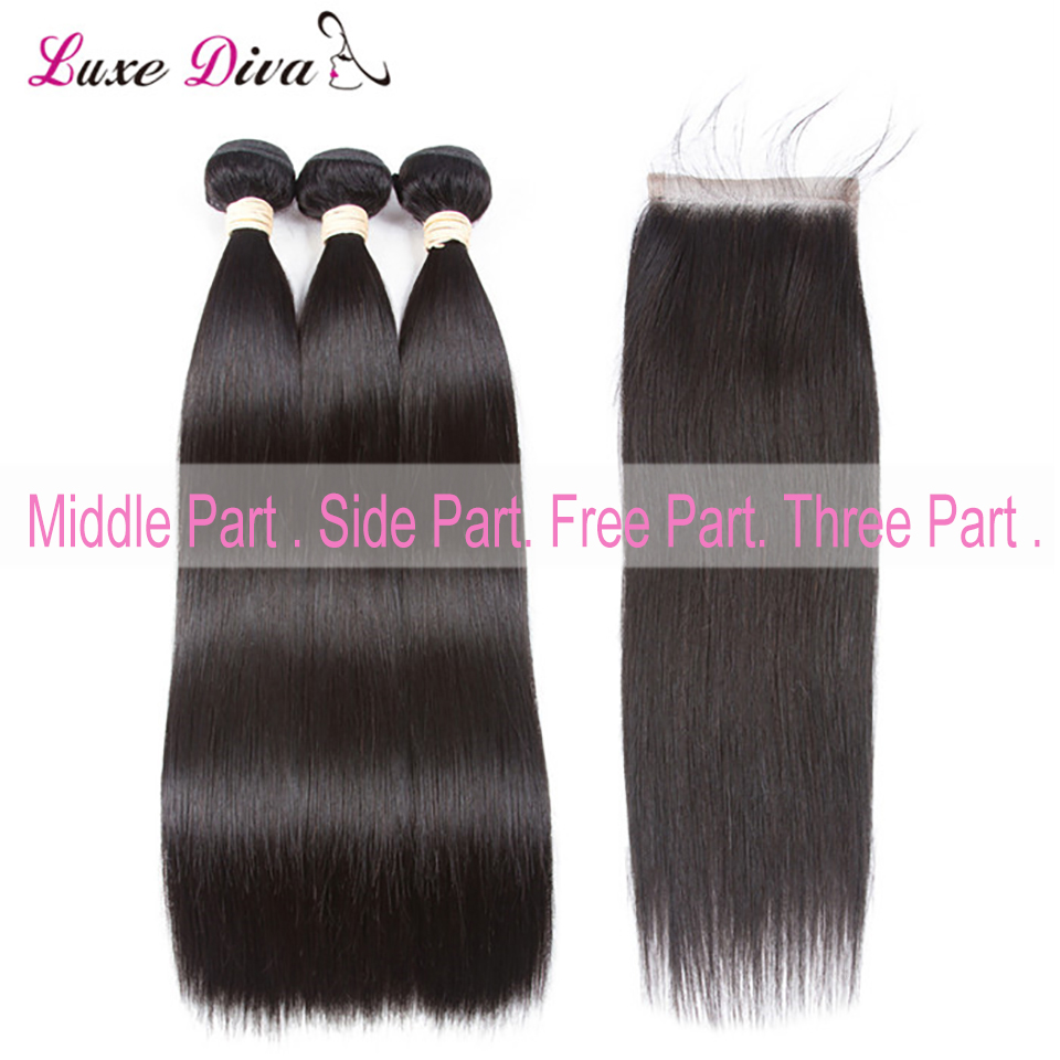Brazilian Human Hair Bundles with Closure Side Part Natural Hair Line For Black Women Silky Straight Remy Hair 4*4 Lace Closure