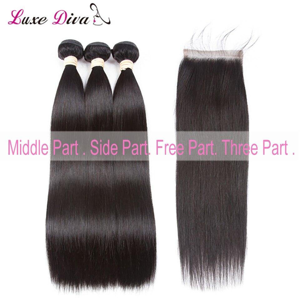 Paquets brésiliens de cheveux humains avec la partie latérale de fermeture ligne de cheveux naturelle pour les femmes noires soyeux droite Remy cheveux 4*4 fermeture de dentelle