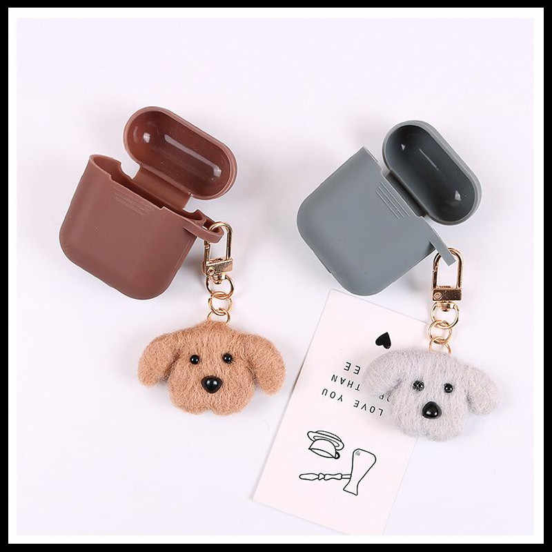 2019 NEW Fashion Cute Dog Airpods Pendant Car Keychains Women Girls Charm Bags key Chain Accessories Lovers Key Ring Wholesale