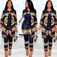 Moda impresso traje dashiki africano roupas para festa feminina europeu senhoras robe africaine duas peças conjunto dcc247