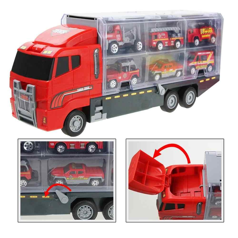 Alloy Fire รถบรรทุกของเล่นรถ Diecast เฮลิคอปเตอร์คอนเทนเนอร์รถบรรทุกยานพาหนะของเล่นเพื่อการศึกษาเด็กของขวัญ