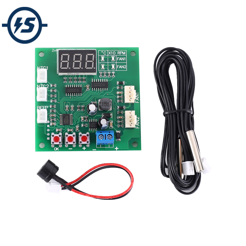 Temperature Controller Speed Governor Display Module for PC Fan/Alarm <font><b>DC</b></font> <font><b>12V</b></font> 24V 48V 2 Channel PWM 4-Wire Fan image
