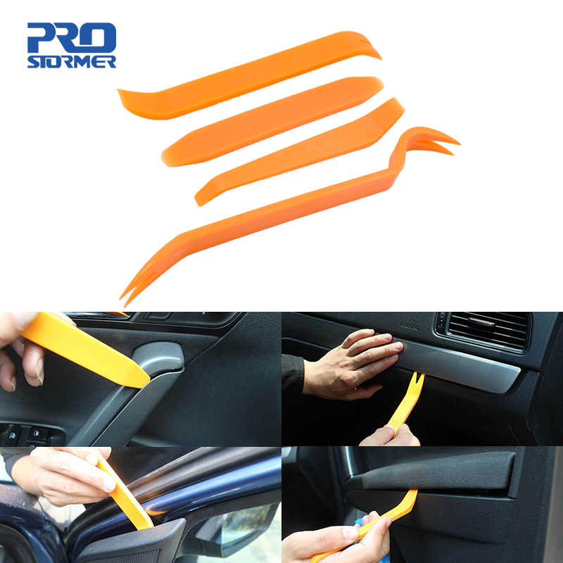 PROSTORMER 4Pcs Portable Auto Car Radio Panel Door Clip Panel Trim Dash Audio Removal Installer Pry Kit Repair Tool Hand Tools