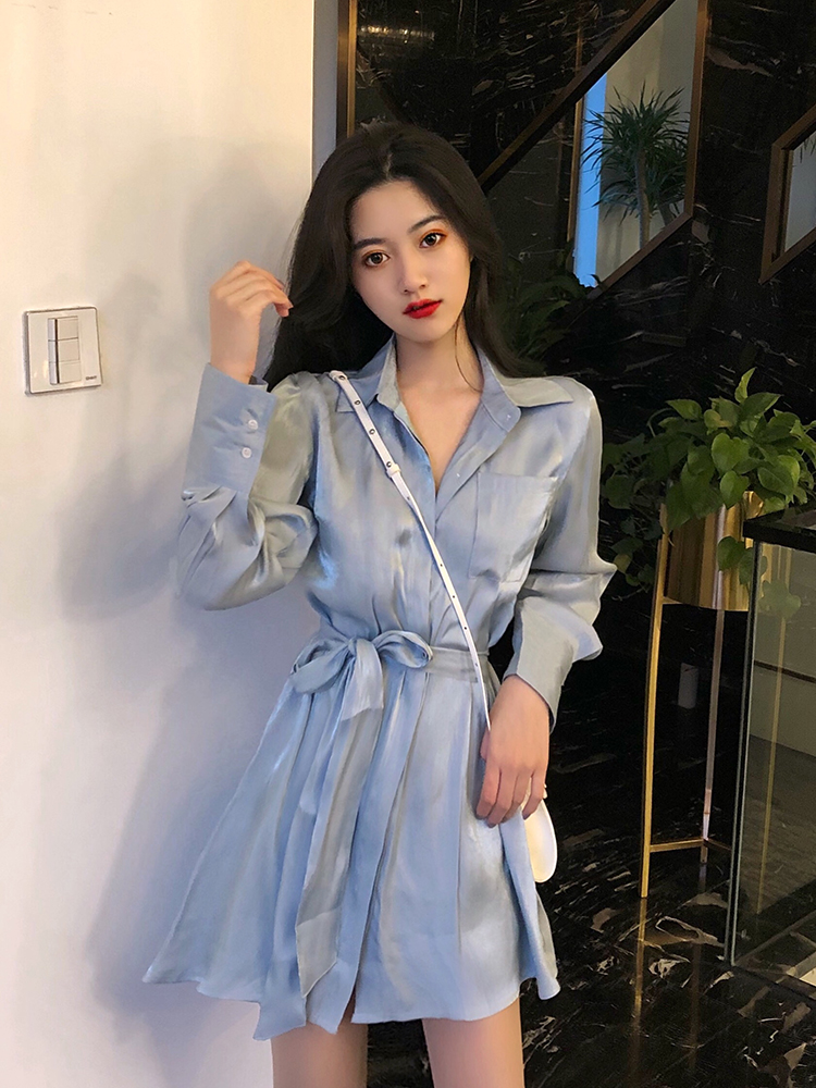 robe femme 2019 autumn korean fashion ladies dresses elegant solid color lace-up long sleeve sexy mini satin shirt dress women 2