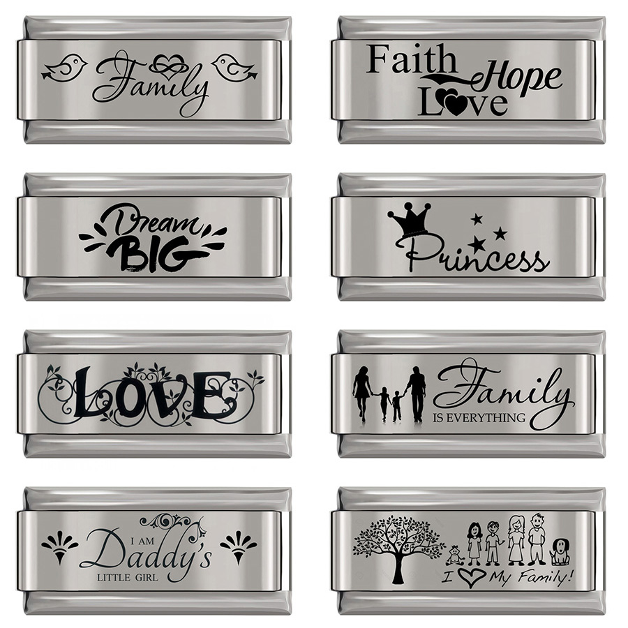 Hapiship 2020 New Stainless Steel Bracelet 9mm Italian Charm Family Love princess Daddy Lucky Bangles Babgle Accessories DJ245|Charms|   - AliExpress