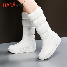 HARAVAL Fashion Woman Luxury Ankle Boots High Quality Pu Round Toe Comfortable Wedges Shoes Solid Classic Casual Warm Boots B275 стоимость