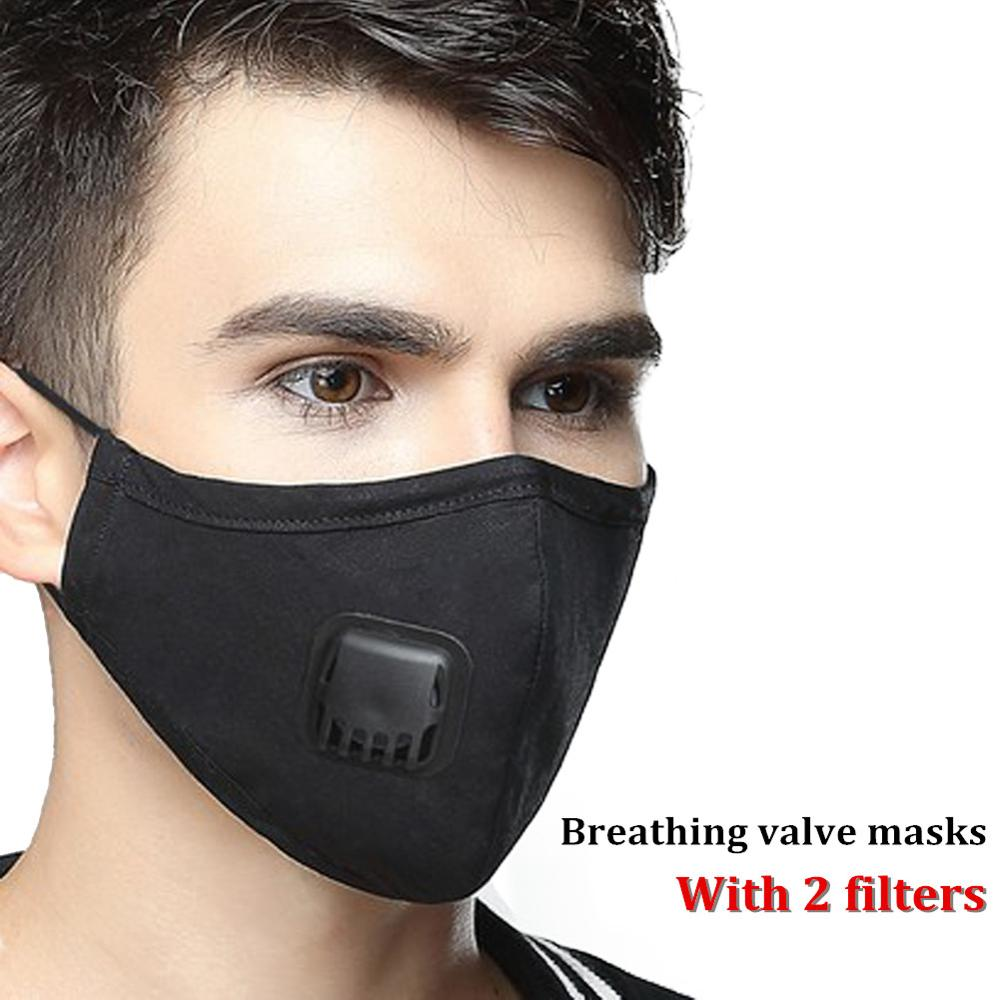 Dust PM2.5 Mouth Mask With 2 Replaceable Activated Carbon Filters Breathable Face Mask Cotton Washable Respirator Mouth-muffle