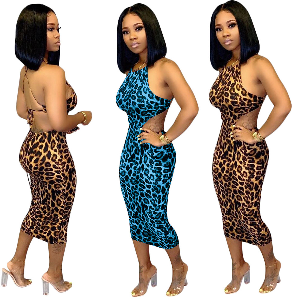 new sexy leopard hollow out bandage bodycon women dress sleeveless strap backless party dress s m l xl xxl xxxl image