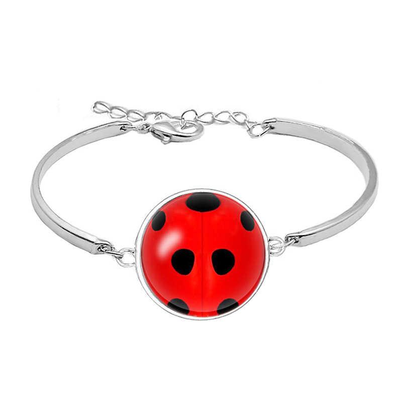 Pulseras de mariquita Cosplay Lady Bug Circle con pulsera de punto para Mujer regalo de fiesta Anime joyería Pulseras Mujer Moda