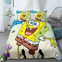 SpongeBob Quilt Cover Yellow Cartoon Character Bedding Set 100% Microfiber Kids Duvet Cover Set Boys Room Decor Bed Linen Set