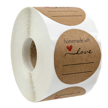 500 Labels Per roll handmade with love stickers seal Labels Natural Kraft thank you for Cake Packaging sticker stationery kraft paper thank you for celebrating with us stickers seal labels 500 pcs for gift sticker scrapbooking stationery sticker