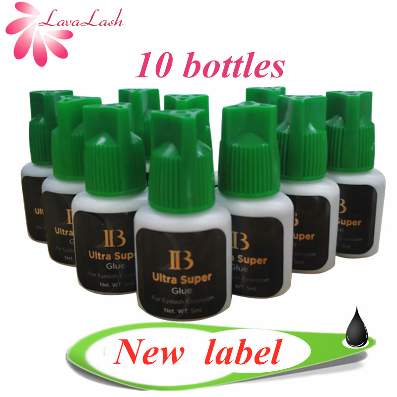 Free Shipping 10 Bottles/lot IB Ultra Super Glue Individual Fast Drying Eyelash Extensions Glue Green Cap 5ml/bottle