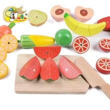 Деревянный большой размер баррель фрукты и овощи слайсер для резки детей обучающая игрушка игровой домик подарок для ребенка