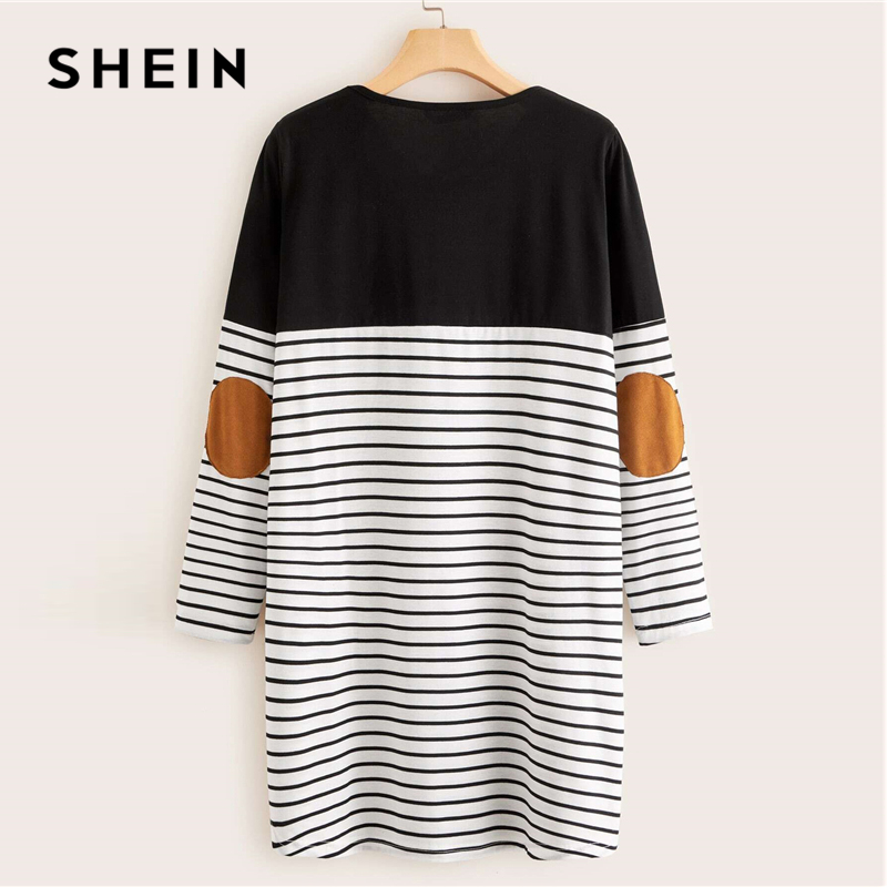 SHEIN Black And White Pocket Patched Striped Tee Dress Women Spring Long Sleeve Ladies Basic Straight Short Casual Dresses 2