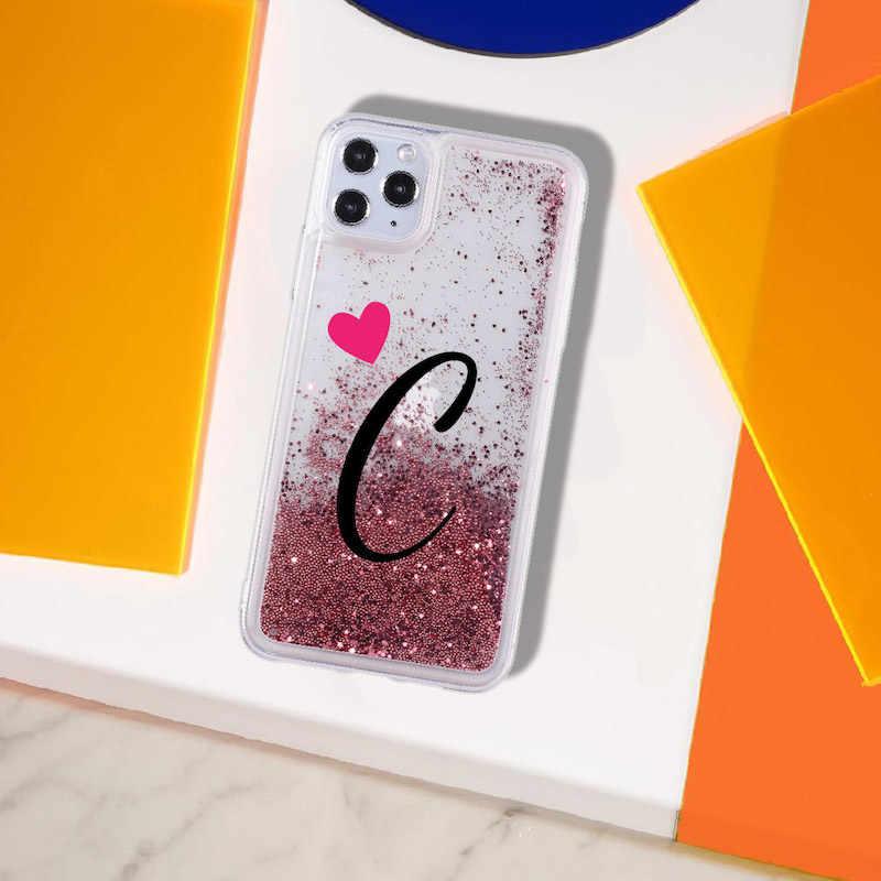 مخصص الأحرف الأولى اسم من الألف إلى الياء القلب البريق السائل الحقيقي بريق غطاء إطار هاتف محمول آيفون 11 X XS XR ماكس برو 7 8 7Plus 8Plus 6