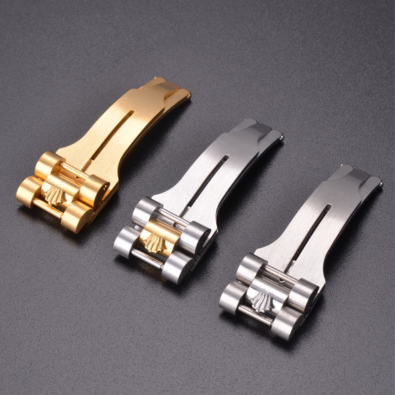 Watch Accessories Men And Women Butterfly Buckle Is Suitable For Rolex Buckle Three Beads All Steel Folding Buckle 16MM