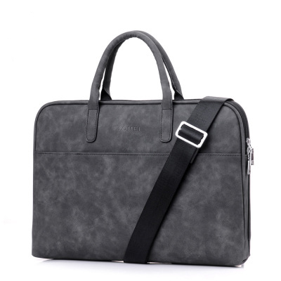 Pu Leather 15.6-inch Waterproof Briefcase, One-shoulder Laptop Bag, Laptop Bag