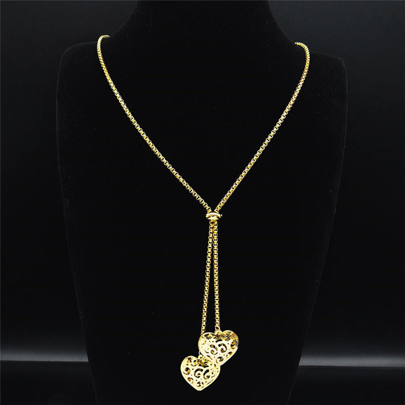 Fashion Stainless Steel Heart Necklace for Women Gold Color Long Necklace Jewelry acero inoxidable joyeria mujer N1373S03