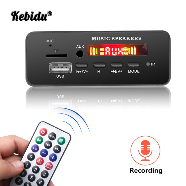 Kebidu Wireless MP3 WMA Decoder Board Remote Control Player 12V Bluetooth 5.0 USB FM AUX TF SD Card Module Car Radio MP3 Speaker