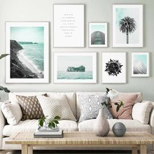 Sea Island Coconut Tree Building Quotes Wall Art Canvas Painting Nordic Posters And Prints Wall Picture For Living Room Decor(China)