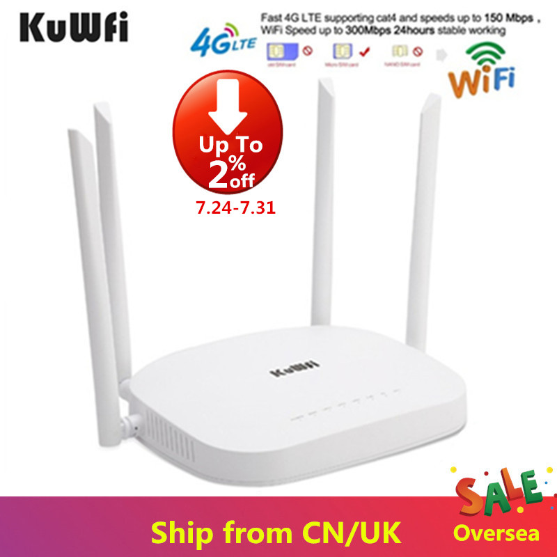 KuWfi 4G CPE Router 3G 4G LTE Wifi Router 300Mbps Wireless CPE Router With 4pcs External