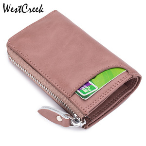 Cartera de piel con cremallera para mujer de la marca Westbrook, cartera para llaves, organizador de llaves minimalista para hombre, Bolsa de tarjeta de crédito con 6 Llaveros