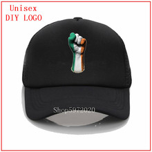 Flag of Ireland on a Raised Clenched Fist Hat Summer Basebal