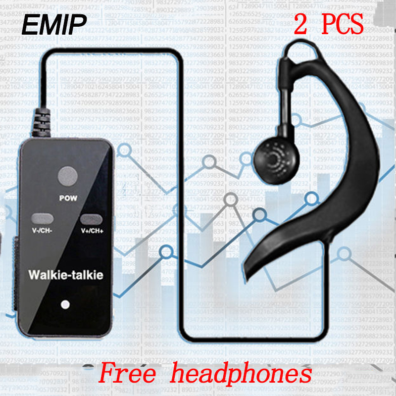 (2 PCS)EMIP  MINI Walkie Talkie Portable VHF Handheld Ham Ultra-small Radio Communicator HF Transceiver With Earpiece