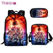 Thikin School Bags for Boys Stranger Things Pattern 3Pcs Backpacks Girls Kids Book Children Supplies
