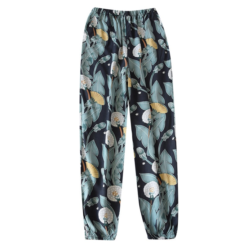 2021 New Floral Printed Trousers Spring Summer Thin & Cool Anti-Mosquito Home Pants Soft Rayon Women's Sleep Bottom With  Pocket