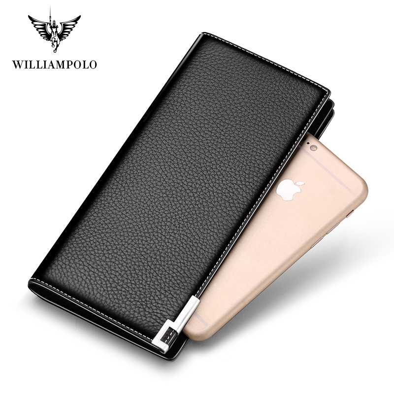 WILLIAMPOLO High Quality Genuine Leather Men Wallet Luxury Wallet Men Purse PL171322