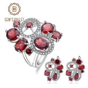 Image 1 - Ensemble de bijoux Vintage en grenat naturel, pierres précieuses en argent Sterling 925, ensemble de boucles doreilles et bagues pour femmes, bijoux fins