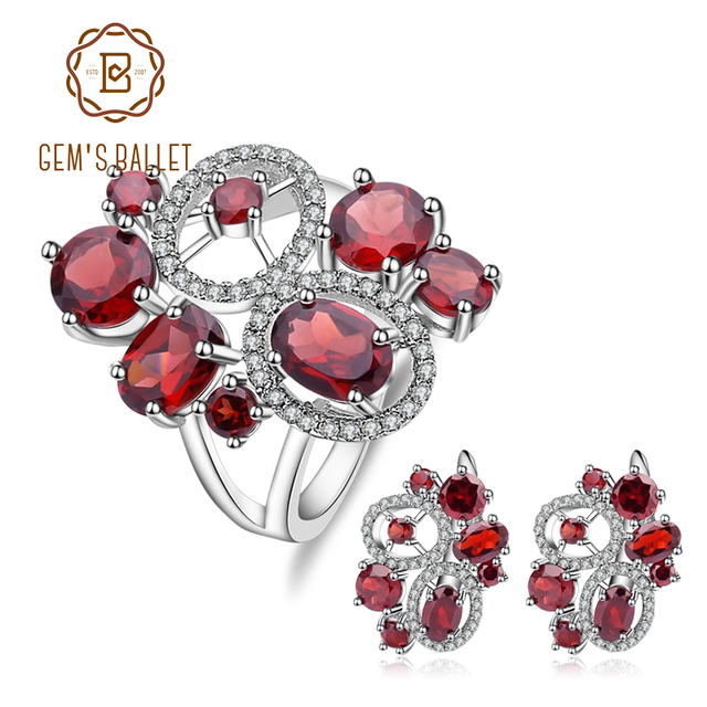 Ensemble de bijoux Vintage en grenat naturel, pierres précieuses en argent Sterling 925, ensemble de boucles doreilles et bagues pour femmes, bijoux fins