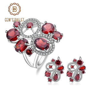 GEM'S BALLET Natural Red Garnet Vintage Flower Jewelry Set 925 Sterling Silver Gemstone Earrings Ring Set For Women Fine Jewelry