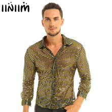 Mens Tuxedo Shirts Shiny Sequins See Through Mesh Long Sleeve Clubwear for Night Party Show Dancing Performance Top Shirt