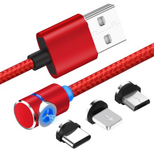 1 м 90 градусов usb Магнитный зарядный телефонный кабель для iphone type C 3 в 1 нейлоновый плетеный шнур 360 зарядное устройство со светодиодным светильник