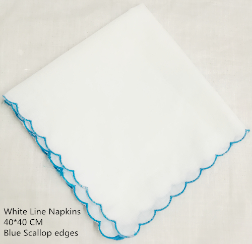 Set Of 12 Fashion White Linen Dinner Napkins/Table Napkins With Scalloped Edges Tea Napkins 40*40 CM