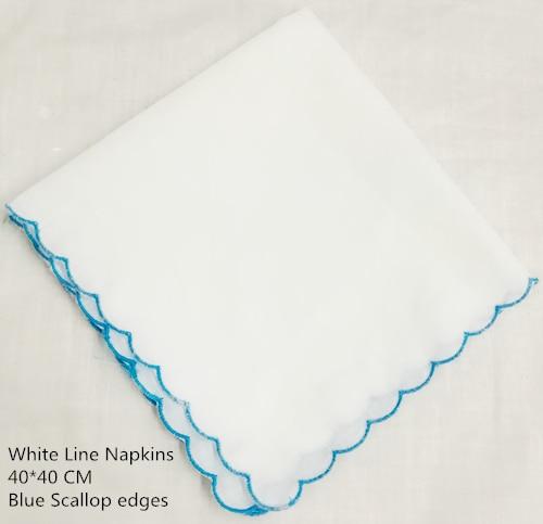 Set Of 12 Fashion White Linen Dinner Napkins/Table Napkins With Scalloped Edges Tea Napkins 40*40 CM